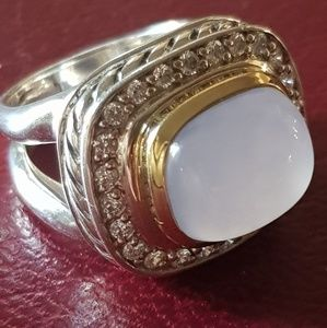 David Yurman Jewelry - David Yurman Chalcedony Diamond Ring With 18k Gold